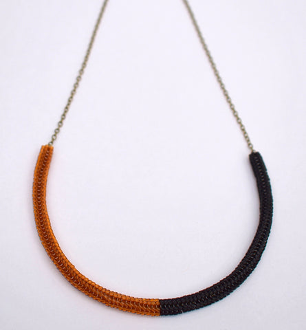 Gummy worm necklace - brown and black