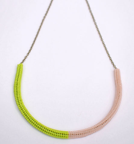 Gummy worm necklace - lime and pink