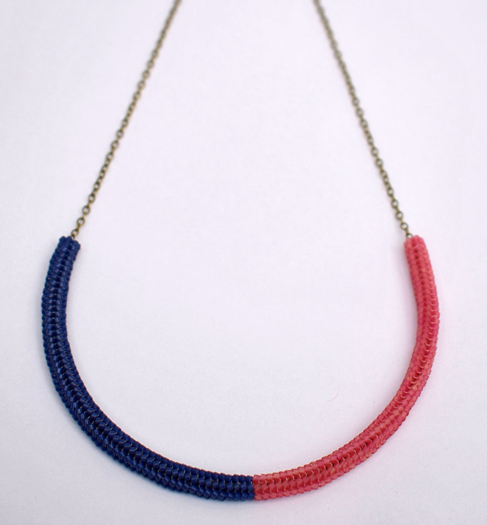 Gummy worm necklace - navy and pink