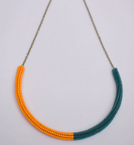 Gummy worm necklace - orange and teal