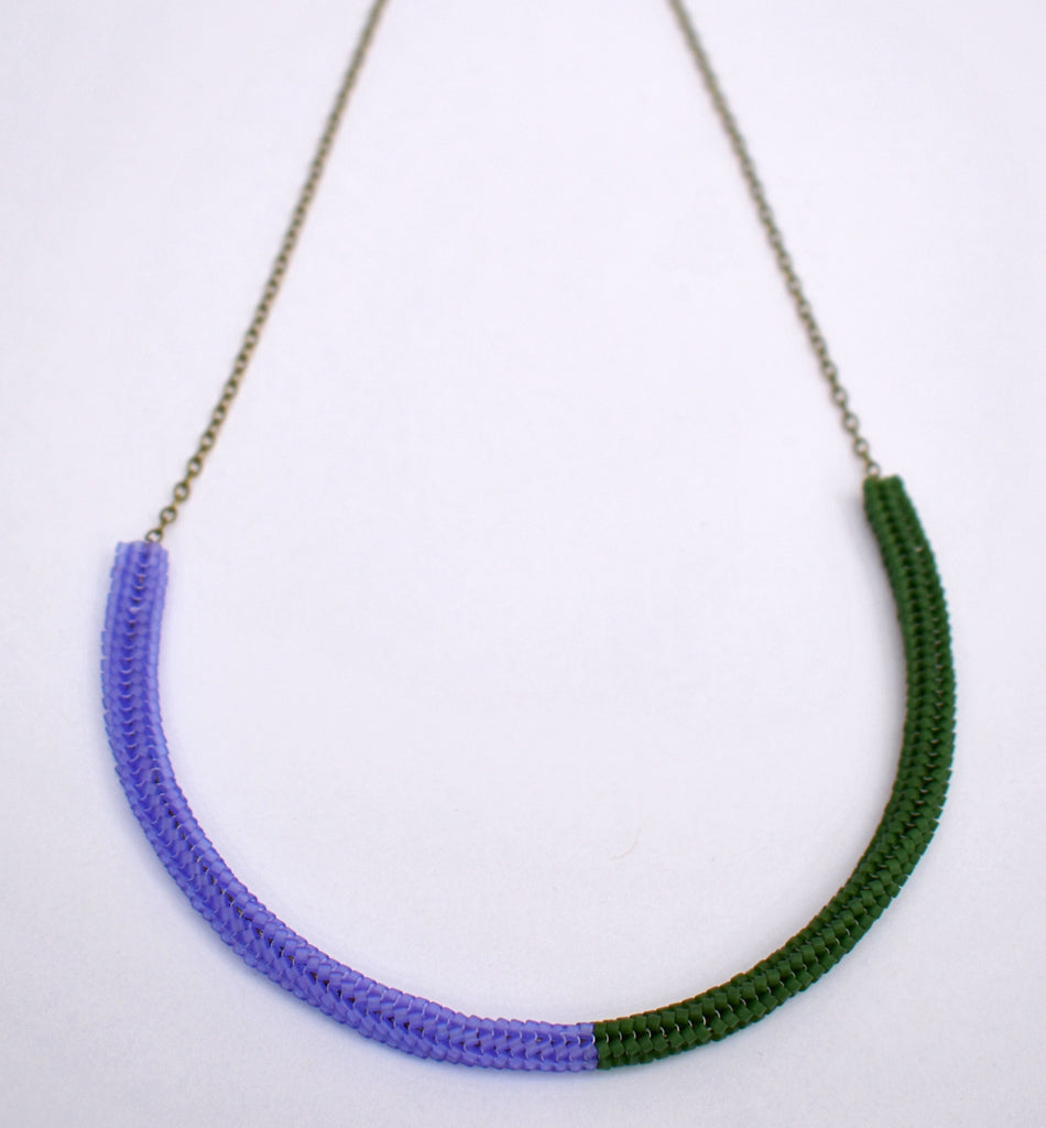 Gummy worm necklace - purple and green