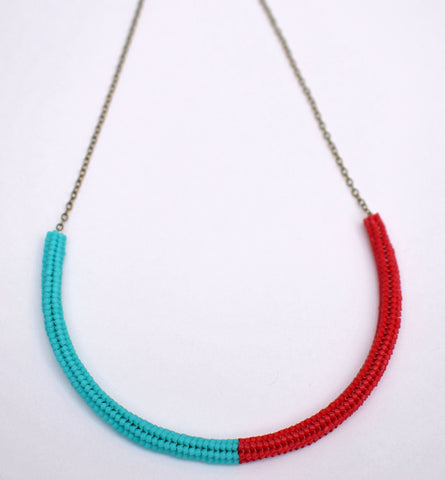 Gummy worm necklace - turquoise and red