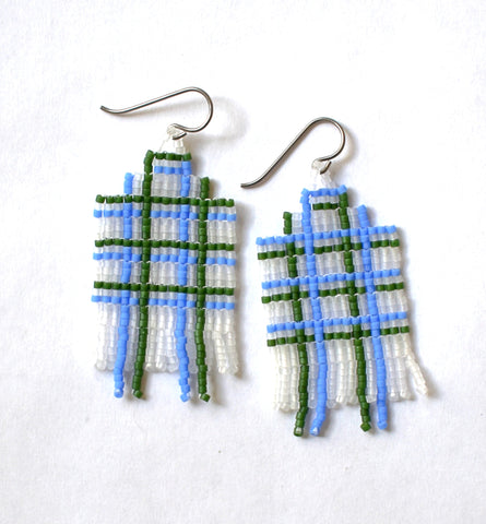 Plaid fringe earrings - frost, blue, green