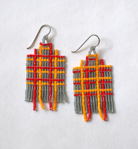Plaid fringe earrings - grey, orange, red