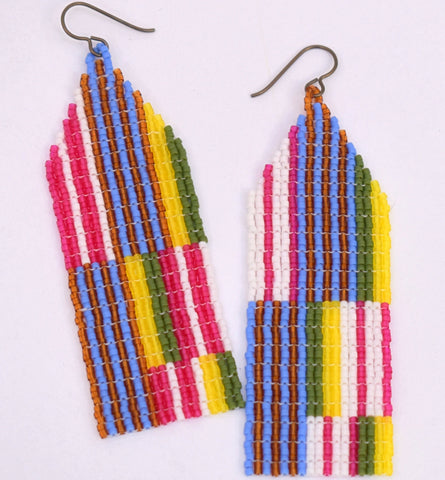 Large Chaotic Stripe Earrings - Autumn