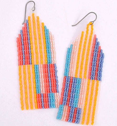 Large Chaotic Stripe Earrings - Poolside