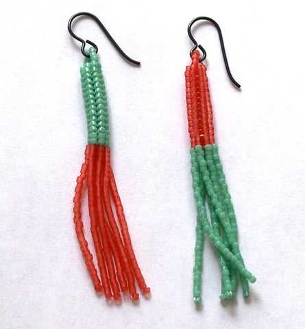 lure earrings - red, ceylon