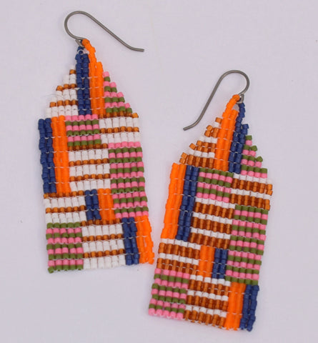 Medium Chaotic Stripe Earrings - Blue Moon