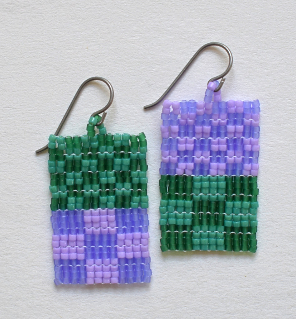 Little check duo earrings - purple and green