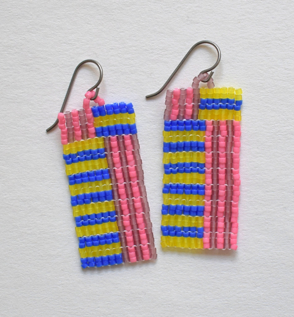 Mini stripes earrings - blue, yellow, pink