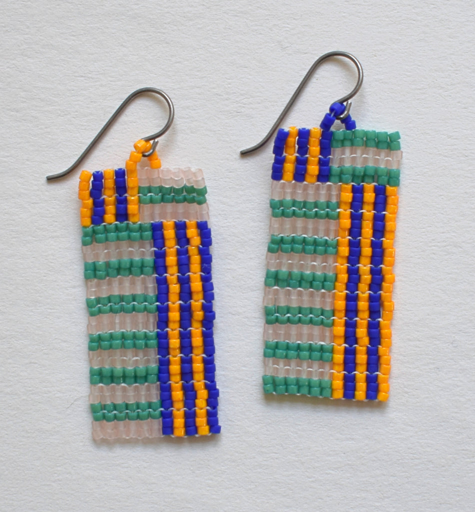 Mini stripes earrings - teal, blue, orange, pink