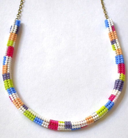 Colorblock chain necklace - white, lime, fuchsia, tan, periwinkle