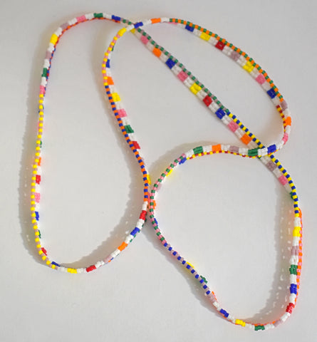 Narrow ribbon necklace - rainbow checks