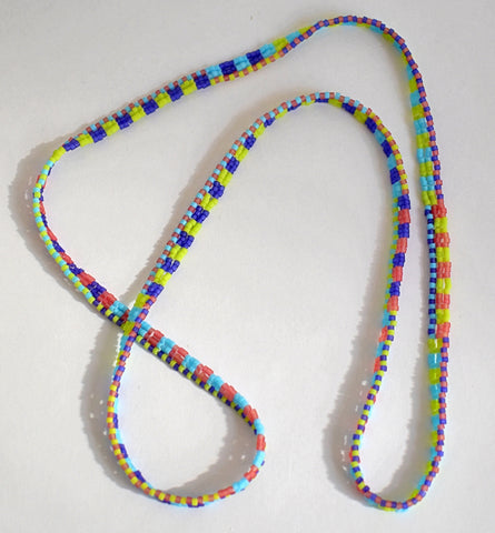 Narrow ribbon necklace - spring checks