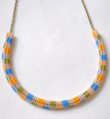 Checkerboard chain necklace - pink, orange, blue, green