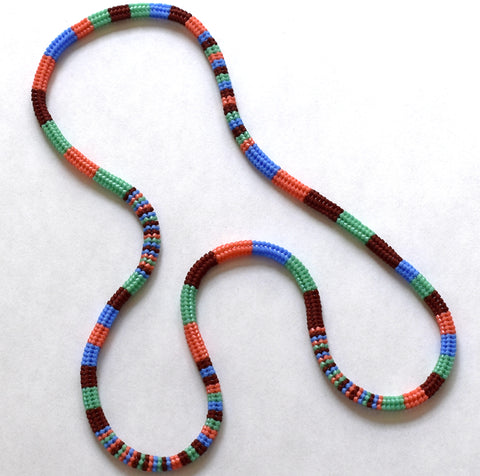 Striped long rope - currant, periwinkle, coral, ceylon