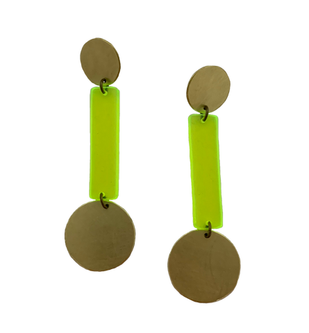 Skyline Earrings - Neon Yellow Transparent