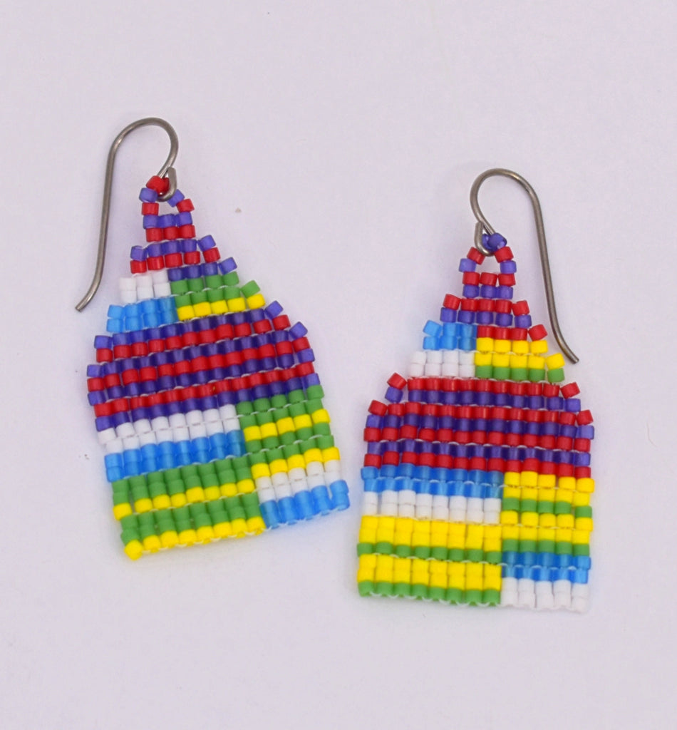 Small Chaotic Stripe Earrings - Bold primary
