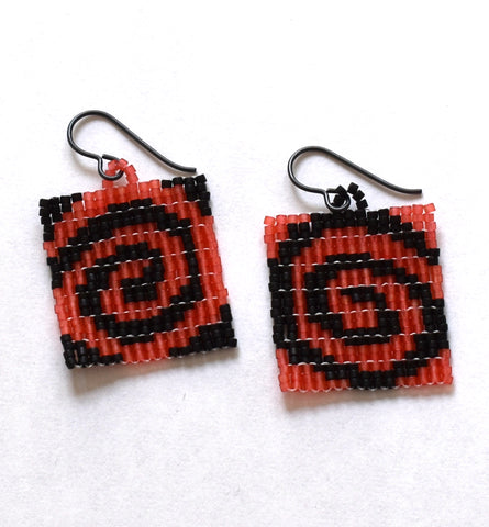 spiral earrings - red, black