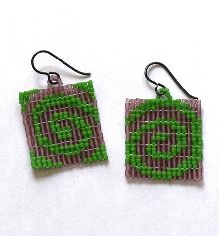 spiral earrings - purple, green