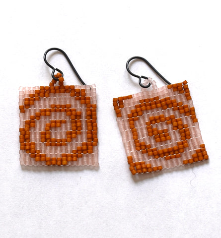 spiral earrings - pink, brown
