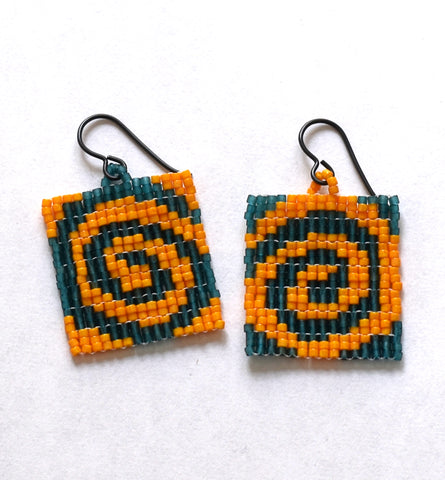 spiral earrings - teal, orange