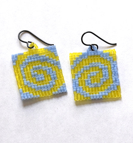 spiral earrings - yellow, blue