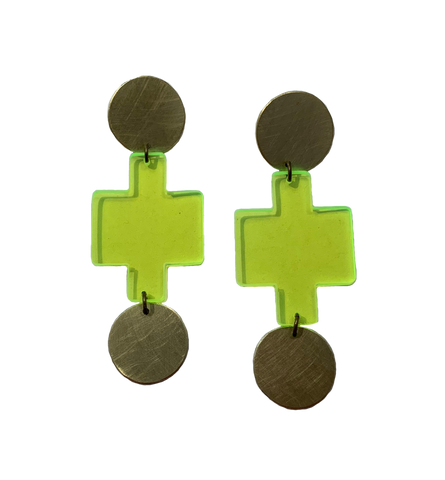 Sutro Earrings - Neon Yellow Transparent