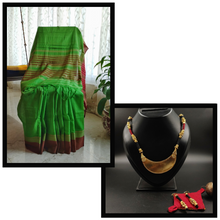Chettinad Cotton Saree & Necklace set combo