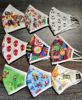 Kids Cartoon Printed Cotton Masks (Set of 9)