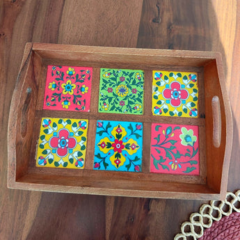 Blue Pottery Jaipur - Wooden Tray