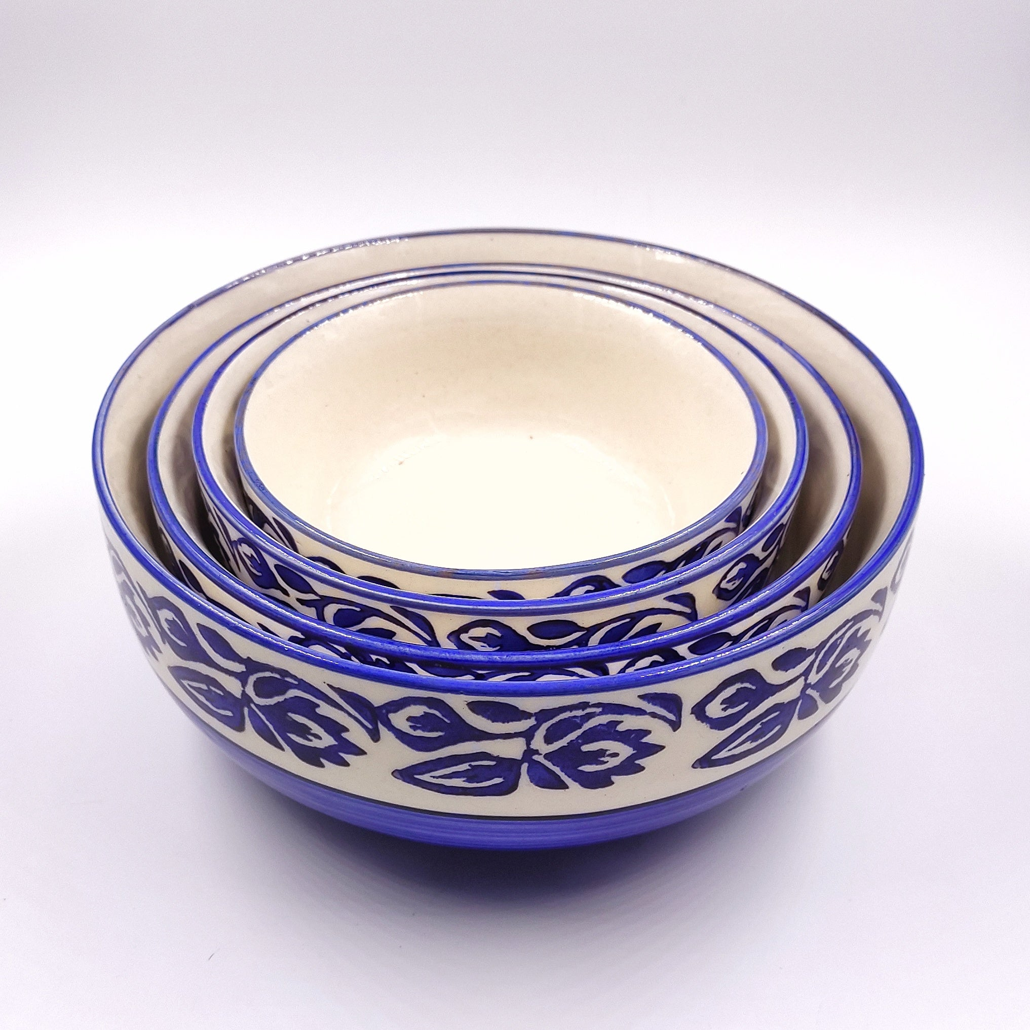 Khurja Pottery Blue Set of 4 Serving bowls