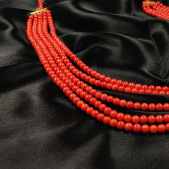 Five layered Coral Beads necklace