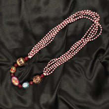 Five layered Garnet and Pearl necklace with Kundan Beads