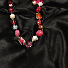 Red quartz necklace with shell pearls and metal beads