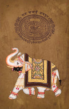 Royal Painting of Palace Elephant-Old Stamp paper miniature