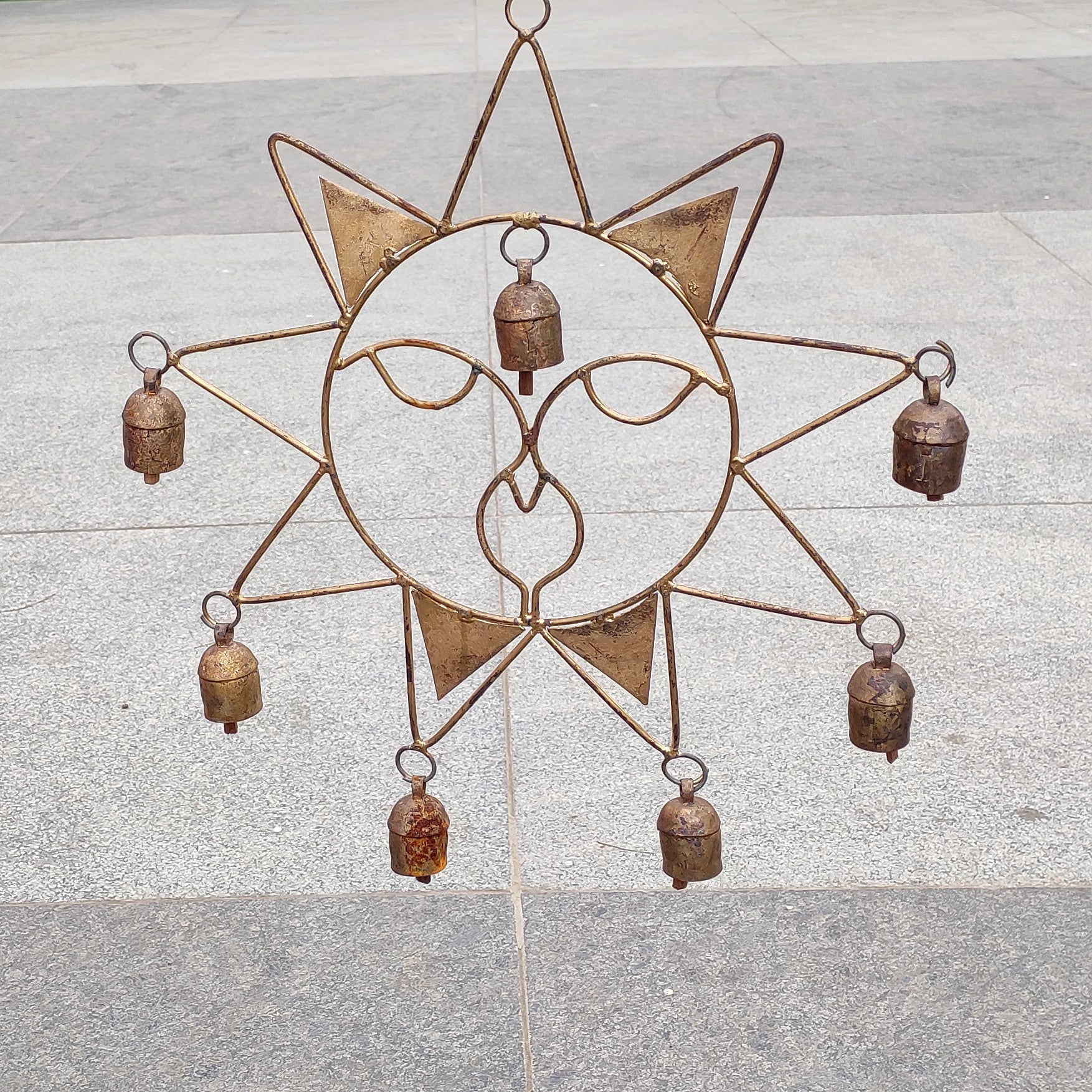 7 Kutch Copper Coated Bells with Sun Pattern