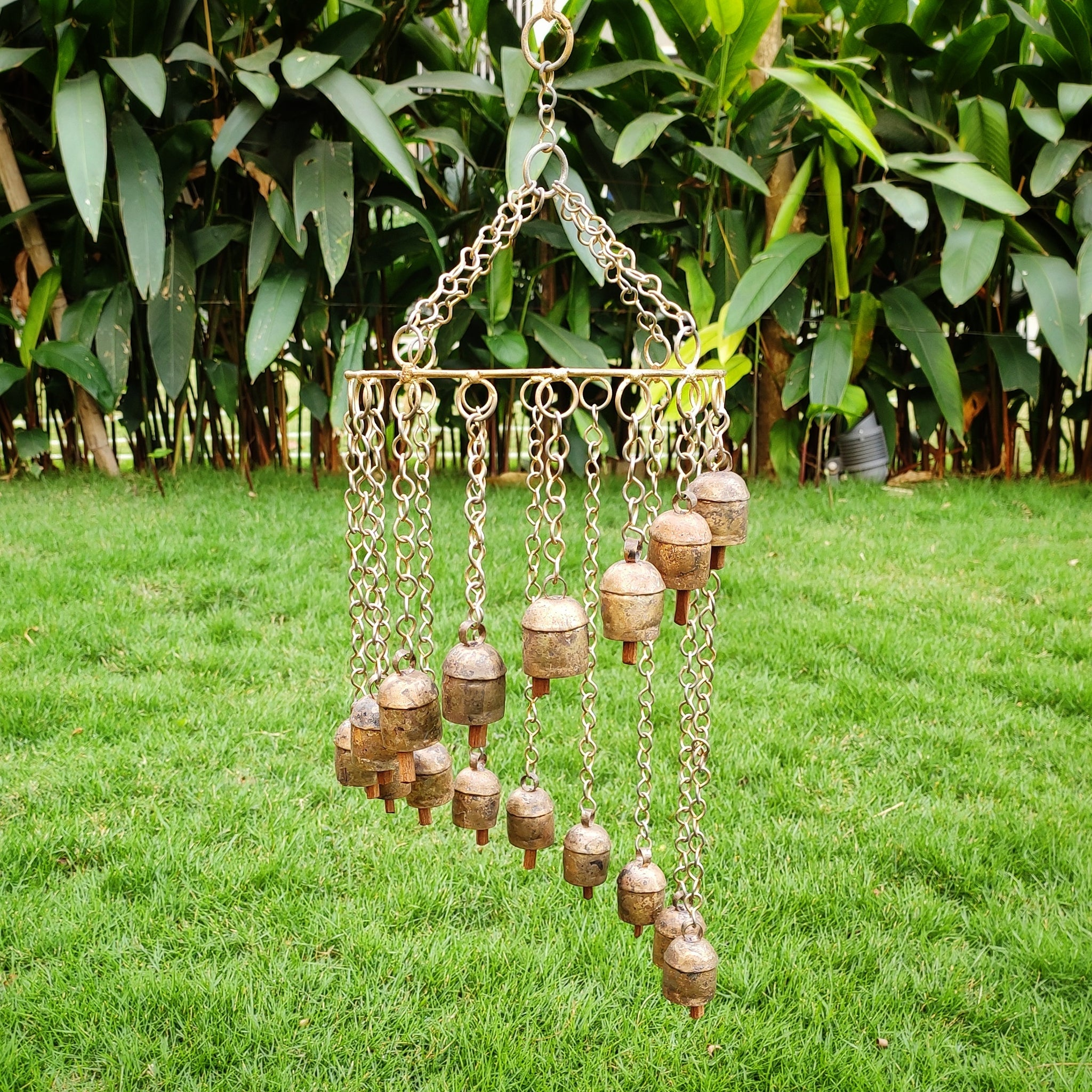 Copper Coated 16 Kutch Bells Spiral Wind Chime