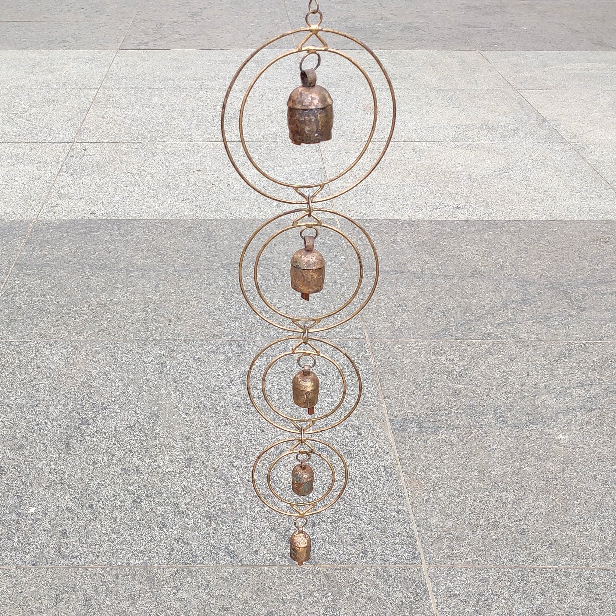 Kutch Copper Coated 5 Bells with Circular Pattern