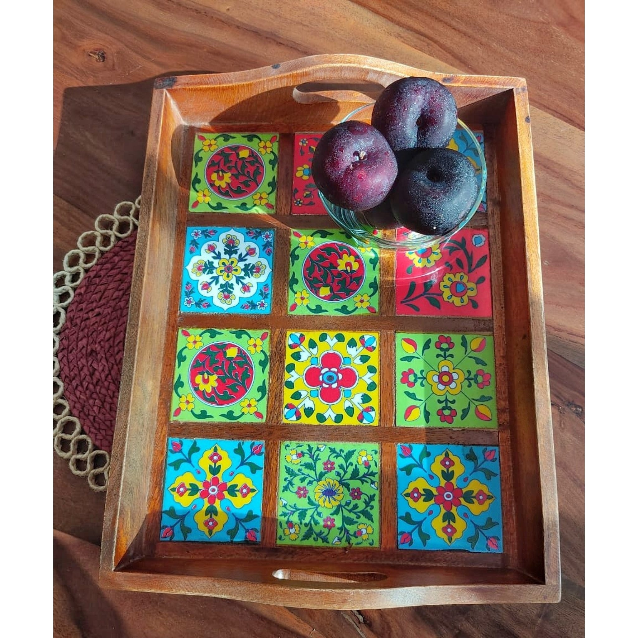 Wooden Tray with 12 Blue pottery tiles