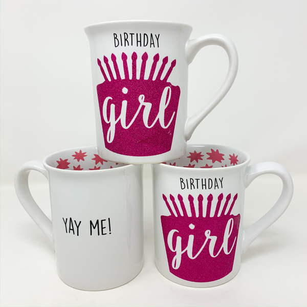 """BIRTHDAY GIRL"" GLITTER MUG"