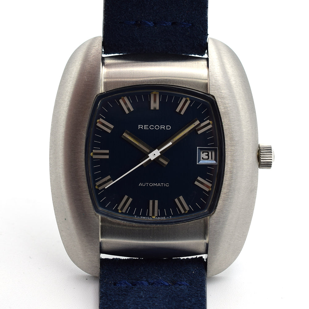 New Old Stock 1970s Record Automatic Blue with Tag