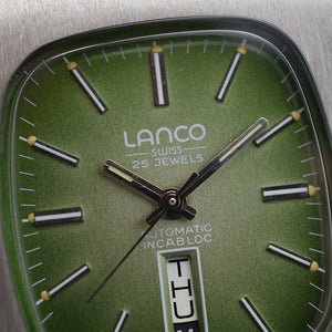 New Old Stock 1970s Lanco Day/Date Green Dial