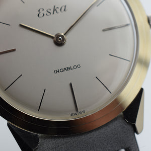 NOS 1965 18ct White Gold Eska Manually Wound