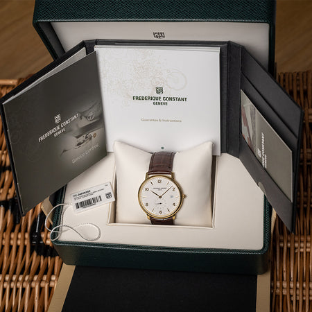 Frederique Constant Slimline Date Gold Plated Box & Papers