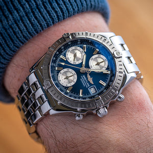 2002 Breitling Chromomat Blue A13352 with Papers