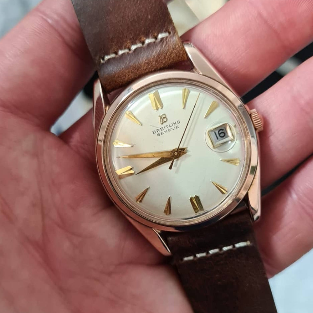 1950s Breitling Geneve Date Pink Gold Dress