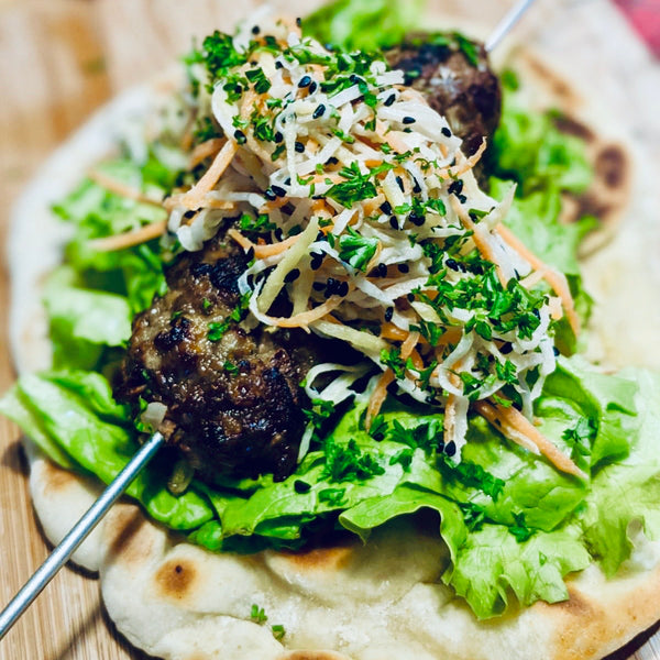Pork Kofta with Flatbreads and Kohlrabi Slaw