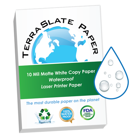 "10 Mil Waterproof Copy Paper 8.5"" x 11"""