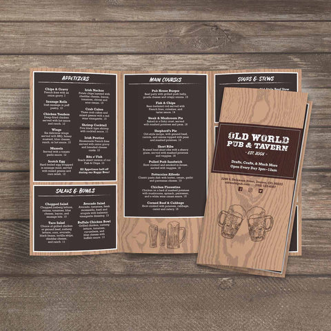 "Old World Pub Menu Template 12"" x 18"" Tri-Fold"